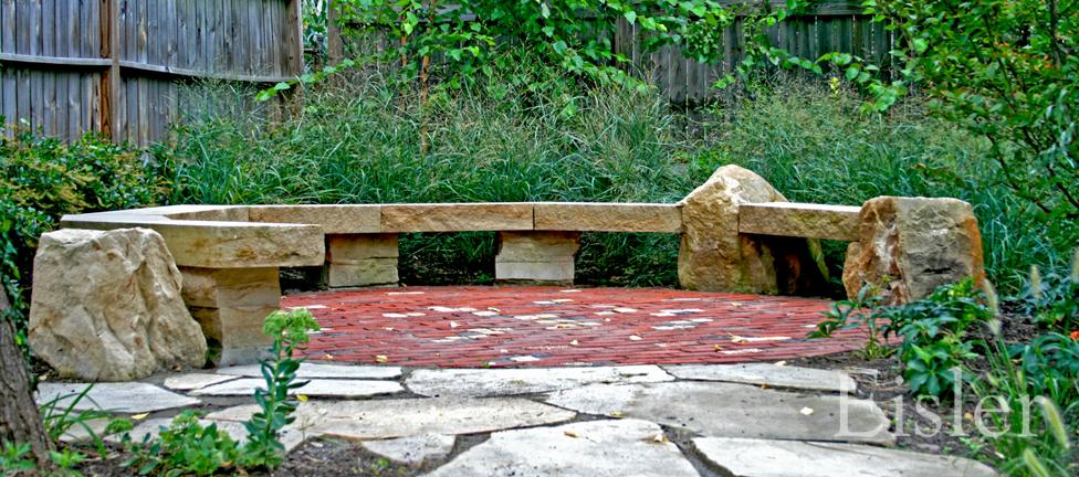 Stone conversation bench.