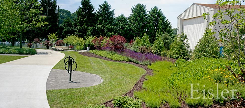 Plantings and paths at Aspinwall Riverfront Park.