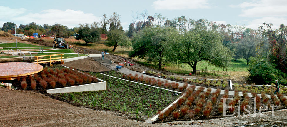 Terraced rain gardens at Eden Hall amphitheater.