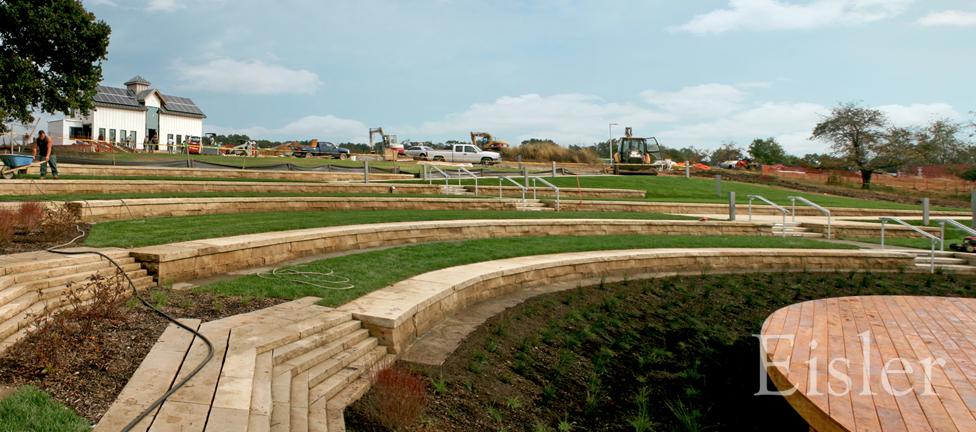 Eden Hall amphitheater under construction.
