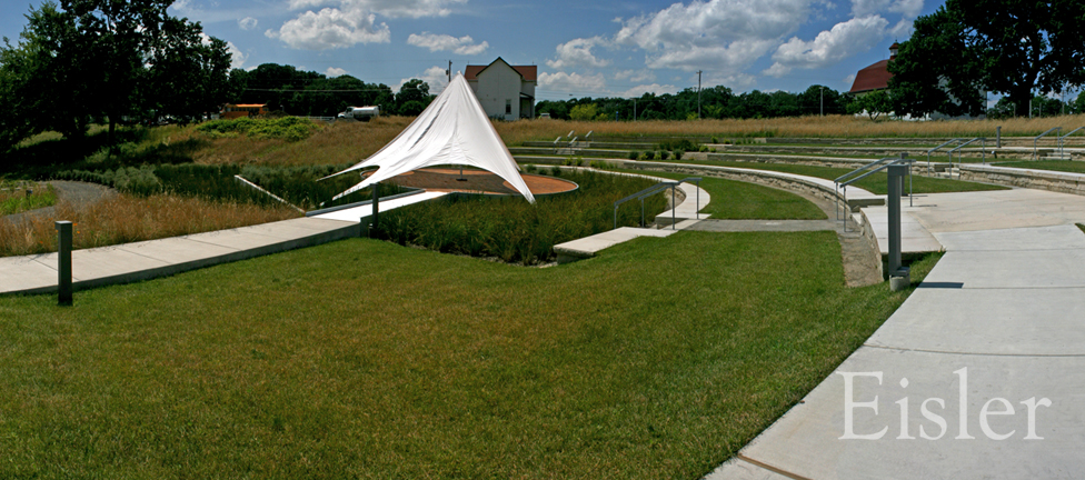 Central rain garden and stage in the amphitheater at Eden Hall.
