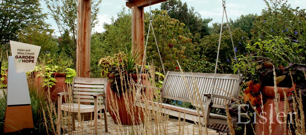 Porch swing in St. Margaret's Garden of Hope.