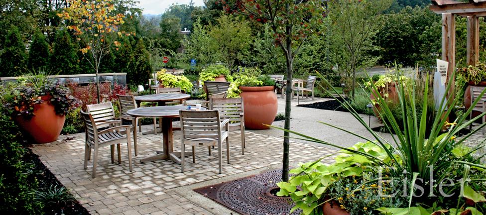 View outdoor dining area in St. Margaret's Garden of Hope.