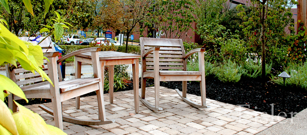 Rocking chairs in St. Margaret's Garden of Hope.